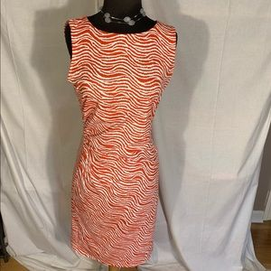 J McLaughlin sleeveless dress in coral and white S